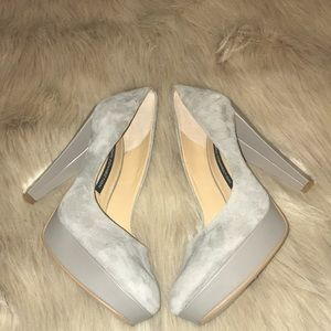 French Connection Suede Gray Platform Heels 8.5